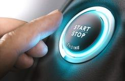 botón de paro del comienzo y del coche Foto de archivo libre de regalías
