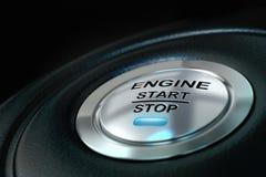 Botón de paro del comienzo y del motor de coche Imagenes de archivo