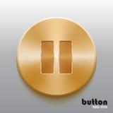 Botón de pausa de oro Fotografía de archivo