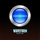 Botón de plata con la muestra de la onda acústica Foto de archivo libre de regalías