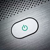 Botón de plata de la potencia Imagen de archivo