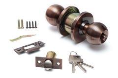 Botón de puerta y montaje de cerradura fotos de archivo libres de regalías