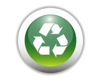 Botón de reciclaje brillante del icono Foto de archivo