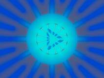Botón de reproducción abstracto con la luz azul Imagenes de archivo