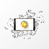Botón de reproducción abstracto de la música con la nota Vector Imagen de archivo libre de regalías