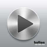 Botón de reproducción con textura de aluminio cepillada del metal Imagenes de archivo