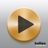 Botón de reproducción de oro con símbolo negro Imagen de archivo libre de regalías