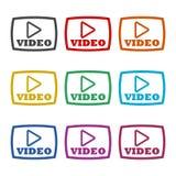 Botón, botón de reproducción, icono o logotipo video, sistema de color ilustración del vector