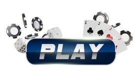 Botón de reproducción redondo azul con la frontera metálica en el fondo blanco Naipes, dados y microprocesadores del casino Casin libre illustration