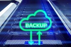Botón de reserva en fondo moderno del sitio del servidor Prevención de la pérdida de datos Recuperación de sistema imágenes de archivo libres de regalías