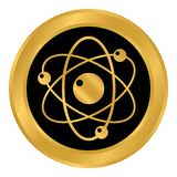 Botón del átomo en blanco Foto de archivo