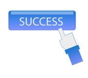 Botón del éxito del tecleo del cursor de la mano Fotografía de archivo