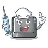 Botón del alt de la enfermera aislado con la mascota ilustración del vector