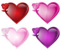 Botón del corazón de Rose Imagen de archivo
