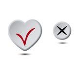 Botón del corazón y botón del círculo Imagen de archivo libre de regalías