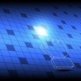 Botón del cuadrado del tecleo del cursor de la mano Fotografía de archivo libre de regalías