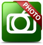 Botón del cuadrado del verde del icono de la cámara de la foto Foto de archivo