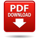 Botón del cuadrado rojo del icono del web del pdf stock de ilustración