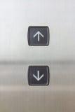 Botón del elevador arriba y abajo de la dirección Fotografía de archivo