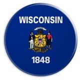 Botón del estado de los E.E.U.U.: Ejemplo de la insignia 3d de la bandera de Wisconsin en el fondo blanco libre illustration