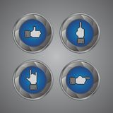 Botón del gesto de mano del pixel Foto de archivo libre de regalías