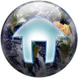 Botón del hogar del globo del mundo Foto de archivo libre de regalías