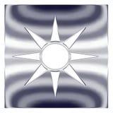 Botón del icono de Sun 3D Imagenes de archivo