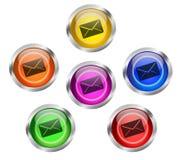 Botón del icono del sobre del correo Fotos de archivo libres de regalías