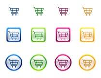 Botón del icono para el carro de compras Imagen de archivo libre de regalías