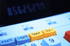 Botón del impuesto de la calculadora Fotos de archivo