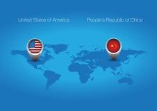Botón del indicador de los E.E.U.U. China Imagen de archivo