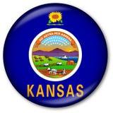 Botón del indicador del estado de Kansas Foto de archivo libre de regalías