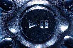 Botón del juego/de pausa, mirada metálica Imagenes de archivo