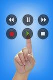Botón del juego del presionado a mano Foto de archivo libre de regalías