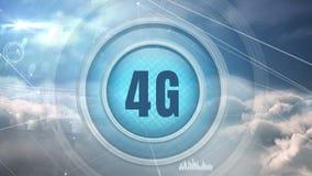 botón del logotipo 4g rodeado por connesctions de los datos libre illustration
