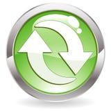 Botón del lustre con el reciclaje de símbolo Imagen de archivo libre de regalías