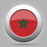 Botón del metal con la bandera de Marruecos Imágenes de archivo libres de regalías