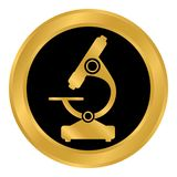 Botón del microscopio en blanco Fotos de archivo