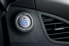 Botón del motor de la parada de comienzo Foto de archivo libre de regalías