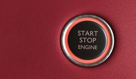 Botón del motor de la parada de comienzo en interior del coche 3D rindió la ilustración libre illustration