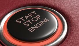 Botón del motor de la parada de comienzo en interior del coche 3D rindió la ilustración stock de ilustración