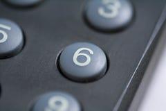 Botón del número seises Imágenes de archivo libres de regalías