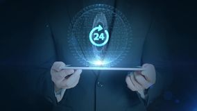 Botón del negocio 24 horas del servicio de la red del web del icono de negocios del hombre de la tenencia de la tableta del holog almacen de video