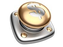 Botón del oro con la muestra de dólar Comience para arriba el concepto del negocio Foto de archivo libre de regalías
