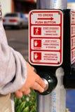 Botón del paso de peatones Imagen de archivo libre de regalías