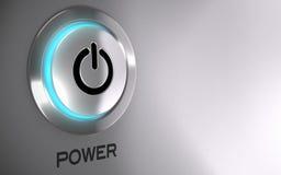 Botón del poder activado Foto de archivo libre de regalías