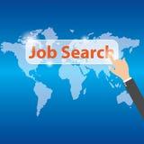 Botón del presionado a mano Job Search del hombre de negocios, vector Foto de archivo libre de regalías