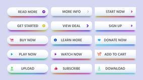 Botón del rectángulo Llamada a los botones de la acción, aprender o leer más y ahora comprar el icono Sistema aislado pendientes  ilustración del vector