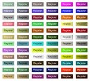 Botón del registro del sitio web o del uso, tecleo del tumbnail todo el color stock de ilustración