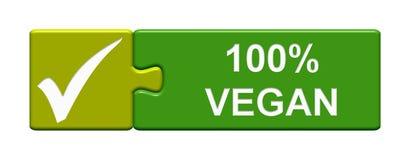 Botón del rompecabezas: vegano 100% libre illustration